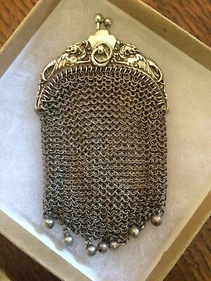 French Victorian Sterling Silver Coin Purse Chatelaine Mesh Change Pouch Griffin