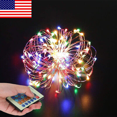 22ft/10m 100LED RGB Remote Control Dimmable Wire Colorful String Lights For Out
