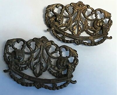 Pair of Antique Drawer Pulls Hardware Architectural Very Ornate Design Brass