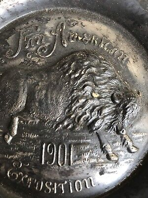 Pan American 1901 Bison Buffalo Silver Plate Tray Advertising Tray