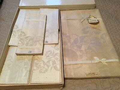 Antique Gribbon's  Irish  Tablecloth 68 x 88 with 8 Napkins Box Store Stock