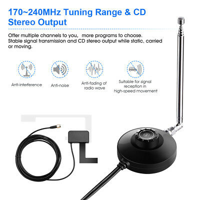 Car DAB DAB+Digital Radio Antenna With DAB Receiver Tuner 3.5mm Audio Output NEW