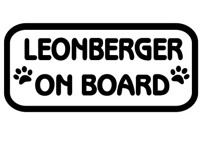 Leonberger On Board Car, Van sticker, decal paw print