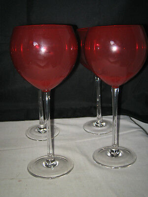4 Lenox Holiday Gem Ruby Red Balloon Wine Gles Clear Stem Signed Excellent