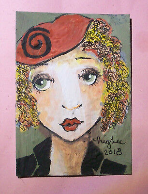 """PINKYDINKS Original ACEO """"Miss Lucille Luster """" HIGBEE Whimsy Wild FACE"""