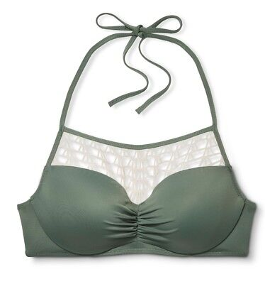 3df6a89669 NWOT SHADE   SHORE Women s Summer Crochet High Neck Bikini Top-Olive  green ivory