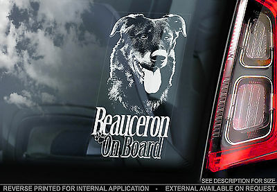 Beauceron - Car Window Sticker - French Shorthaired Shepherd Bas Rouge Dog Sign
