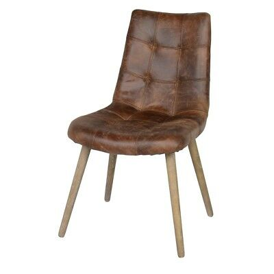 "34"" Tall Dining Chair Solid Top Grain Leather Seat Tapered Solid Wood Legs"