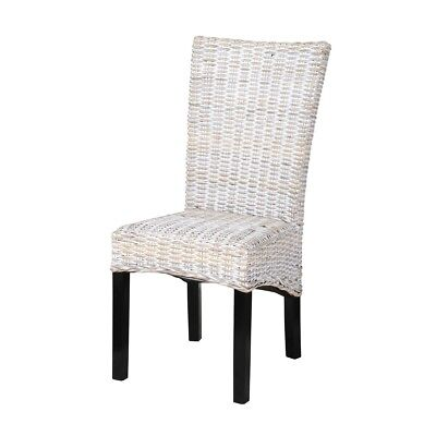 "41"" Tall Dining Chair Solid Mahogany Wood Woven Kubu Wicker Seat"