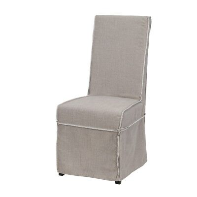 "43"" Tall Dining Chair Solid Birch Wood Frame Linen Slip Cover Raw Edge Stiching"