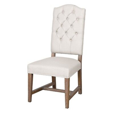 "45"" Tall Dining Chair Solid Oak Wood Low Seat High Back Button Tufted"