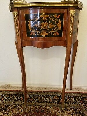 Antique French Louis XV Style Side End Table w/ 3 Drawers Marqueterie Inlaid