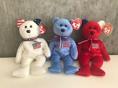 TY Beanie Babies - AMERICA Bears (Set of 3 Colors - Red, White & Blue)