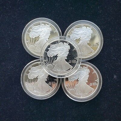 Lot of 5 Sunshine Mint 1 oz Proof Silver Eagle Rounds .999 Silver No Reserve