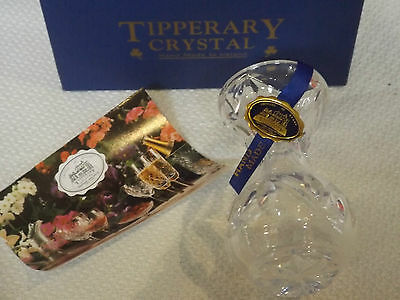New Tipperary Crystal Bud Vase Hand Made In Ireland Mouth Blown Hand Cut Signed