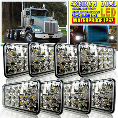 "4x6"" inch LED Headlights H4656/4651/4666 Replacement High/Low Beam 45W-Qty8"