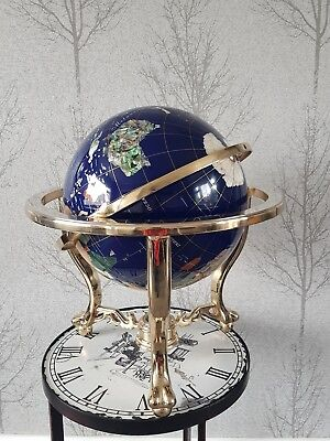 "Large 12"" Lapis Gemstone Globe. Semi precious stones. brass Stand With Compass"