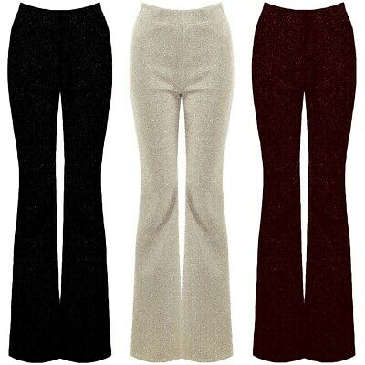 5f5b25bdfd Glitter Lurex High Waisted Fitted Wide Flare Leg Bell Bottom Stretch  Trousers