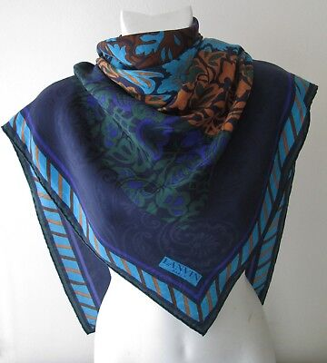 Awesome Vintage Vibrant Lanvin Paris Pure Silk Scarf Rolled Hem  (8366X)