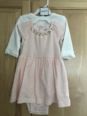 NWT Carters Baby Girls Size 12 Months Dress Cardigan Outfit