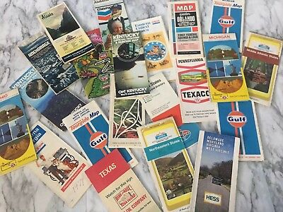 Lot of 20+ Vintage Travel Road Highway Maps - Texaco - Gulf - Rose Oil Company