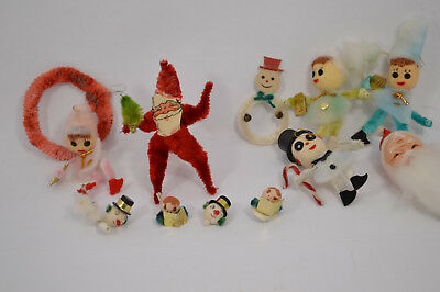 Lot of Pipe Cleaner Christmas People Spooky Snowman, Cotton Heads Pink & Blue
