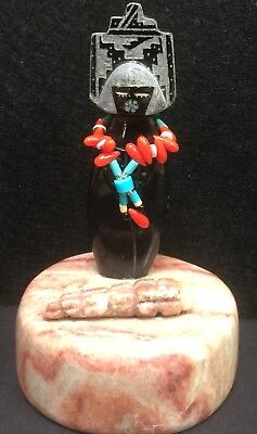 Zuni Black Corn Maiden Fetish With Red Coral Necklace Offering By Andy Abeita