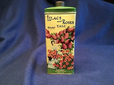 Vintage Lilac and Roses Blended Flower Talcum Lander Fifth Ave New York Tin