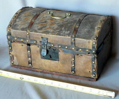 Antique Small Travel Trunk Deer Skin Wood brass hobnails iron hardware ca 1820