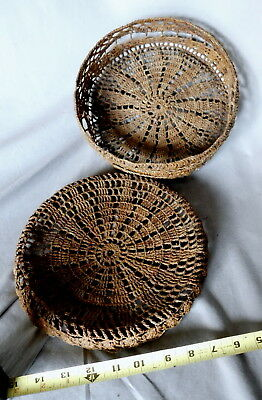 Rare antique 19th C 1800s Sailor Made Ropework Macrame lidded sewing Basket
