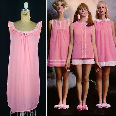 Vintage 60s Womens Small Baby Pink Nylon Ruffled Baby-doll Nightgown Lace Trim