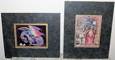 Awesome Set of 2 1980's Fantasy Dragon & Wizard Wall Art