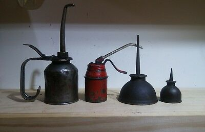 Vintage Eagle Metal Thumb Pump Oil Can Oiler Made In Usa Antique Tool Lot Red