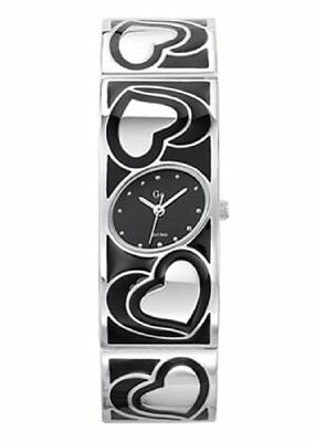 Go Women's 694591 Oval Black Dial Black And White Brass Wristwatch