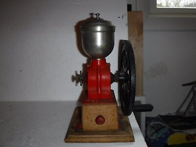 Vintage Antique ELMA Cast-Iron SPANISH Coffee Grinder Mill Red Used