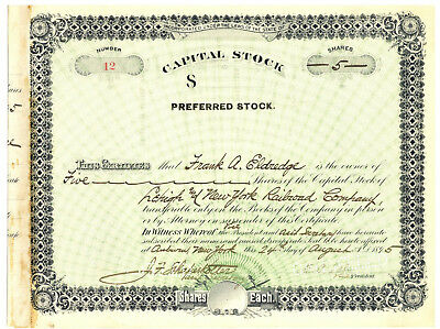 Lehigh and New York Railroad  Company. Stock Certificate