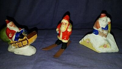 antique 1930's Composition Christmas Santas (lot of 3)