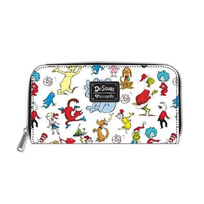 NEW LOUNGEFLY Dr. Seuss Multi-Character Print Zip-Around Wallet