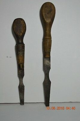 Two Antique Hand Forged Screwdrivers Old Tools
