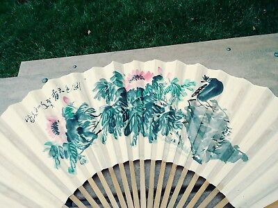 19th Chinese Antique Bamboo FAN  SIGNED HAND PAINTED WITH BIRD