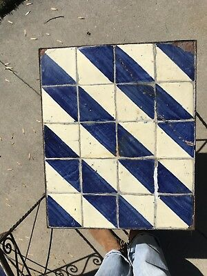 Antique Vintage Mexican Tile Top Table with iron base