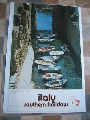 """Vintage Original 1960's """"Italy Southern Holidays"""" Travel Tourism Poster"""