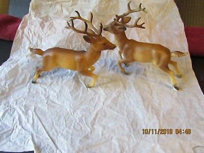 Vintage Pair Natural Brown Christmas Reindeer Decorations