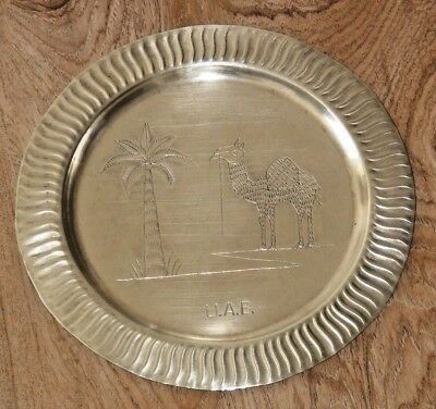Vintage Hand Engraved Islamic Copper Wall Hanging Plate Camel Brass Decor Desert