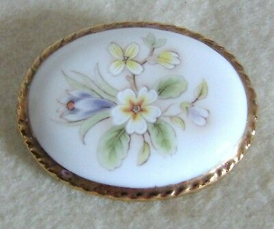 Beautiful Vintage Signed Aynsley Bone China Oval Flowers Pin Brooch