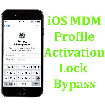 Apple iPhone X Xs Max 8 7 Plus 6s 6 MDM Remote Management Bypass All iOS - FAST