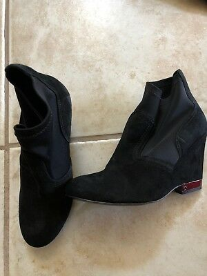 TORY BURCH Black Suede Ankle Boots Wedges pull on sz. 6.5 M NEW!