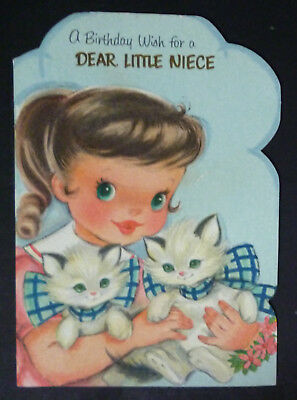 Pretty Little Girl Holds 2 White Kittens in Bows! Vintage Birthday Greeting Card
