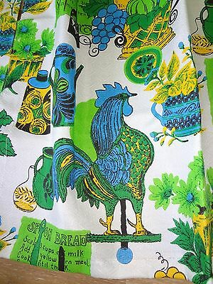 "New Orig Pkg, Mid Century Curtain Set Roosters Kitchen 36"" Fiberglass 2 Availabl"
