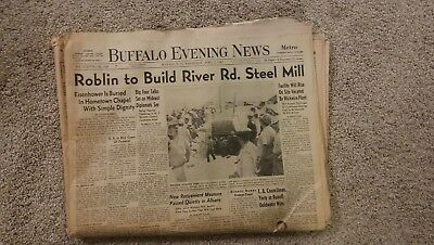 Vintage Buffalo NY Evening News Newspaper April 2, 1969 Roblin Industries Steel
